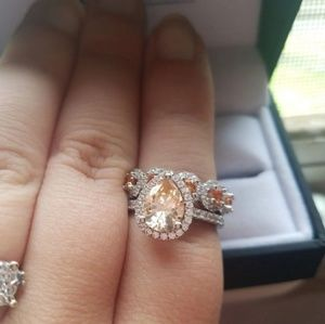 Champagne sapphire engagement set.